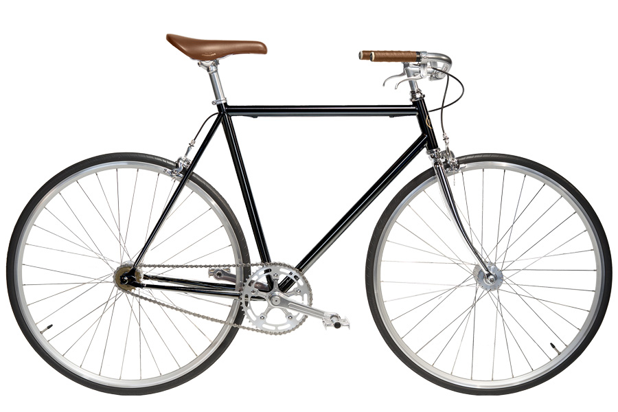 Jitensha Black/Alu/Camel Single Speed Fiets