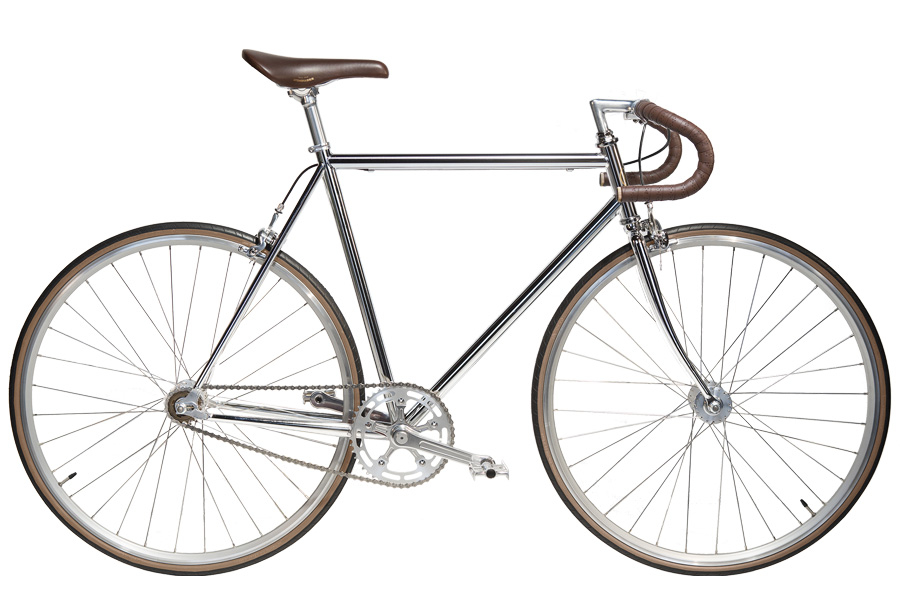 Jitensha Chrome/Alu/Brown Single Speed Fiets