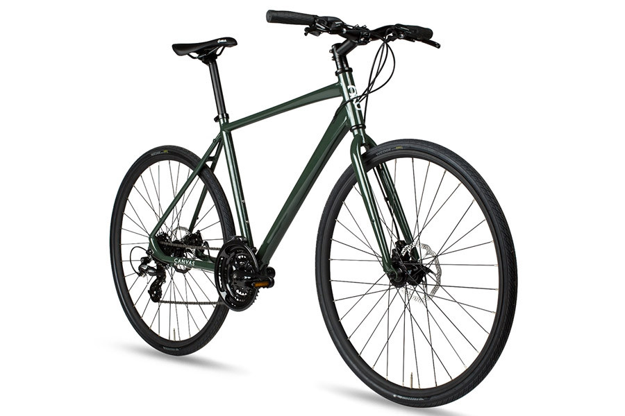 6KU Canvas Disc Hybride Fiets - Deep Forest