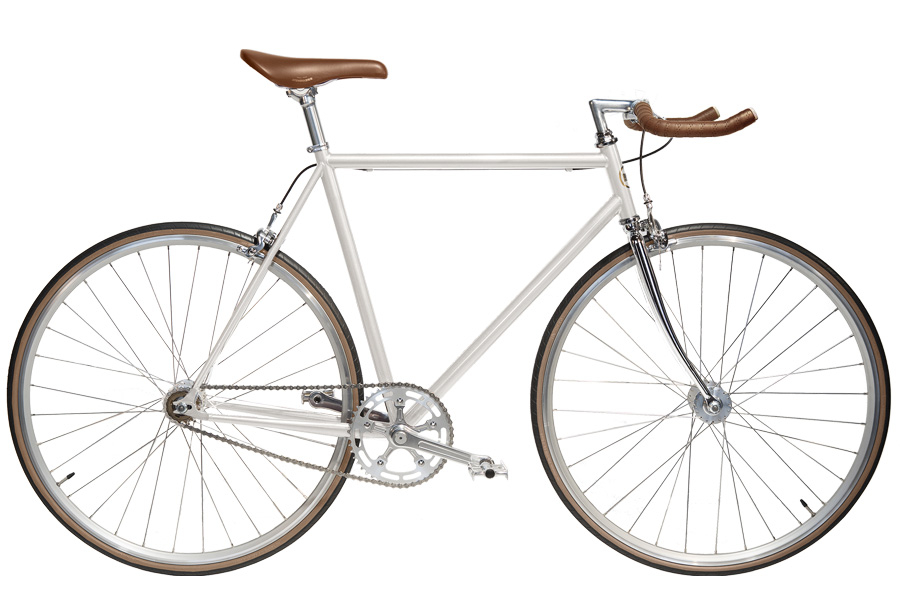 Jitensha White/Alu/Camel Single Speed Fiets