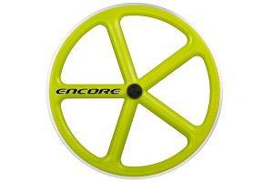 Encore 5 Spaak Voorwiel - Carbon Weave - Lime Groen